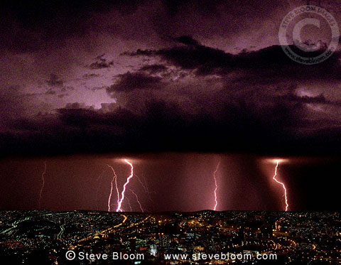 Thunderstorm with lightning over city