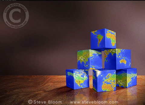 The world as building blocks. Illustration