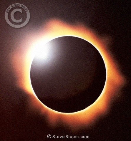 Total eclipse of the sun showing diamond ring effect