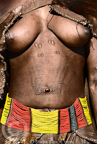 Hamar tribeswoman displaying scarification, Omo Delta, Ethiopia, Africa