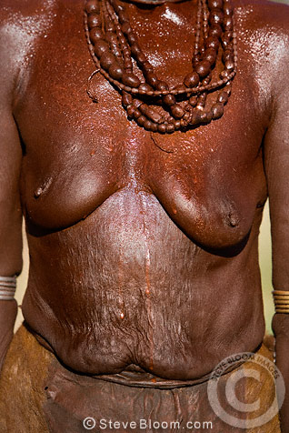 Hamar tribeswoman decorated with paste made from ochre and animal fat. Omo Delta, Ethiopia, Africa