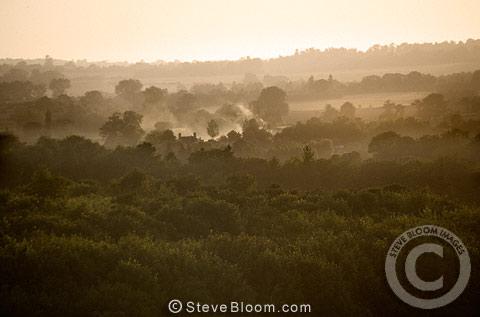 View across the valley at dusk, Wye, Kent.