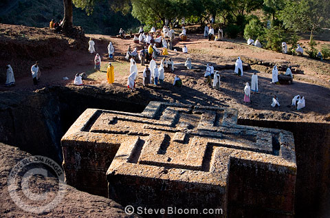 Ethiopian Orthodox sunken church of Bet Giorgis, hewn from rock in the 12th century. Ethiopia, Africa.