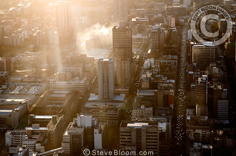 Aerial view of Johannesburg city centre in the early morning, South Africa