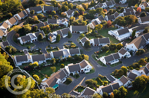 Aerial view of a modern housing estate, Johannesburg, South Africa