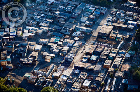 Aerial view of a shanty homes on the outskirts of Johannesburg, South Africa