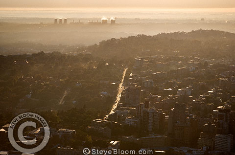 Aerial view of Johannesburg at dawn, South Africa