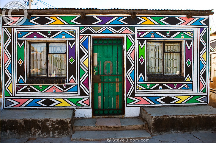 Artwork On A Ndebele House South Africa