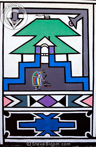 Detail of artwork on a Ndebele house, South Africa