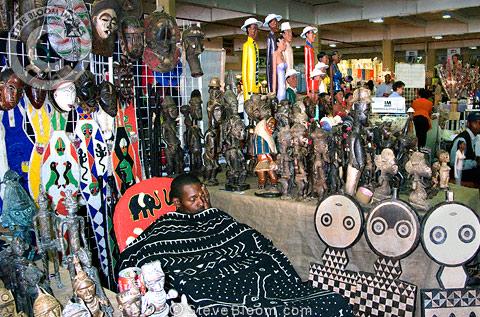 Stall Selling African Masks Indoor Market Johannesburg