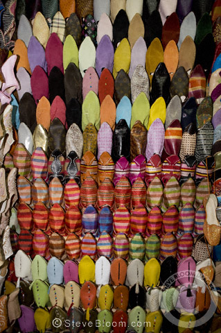 Shoes for sale in the Djemaa el Fna souq, Marrakech, Morocco