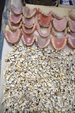 Human teeth and dentures for sale in the Djemaa el Fna marketplace in Marrakech, Morocco