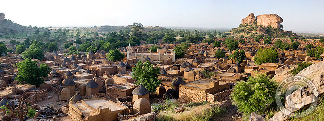 A Dogon village in front of the Bandiagara Escarpment, Dogon Country, Mali