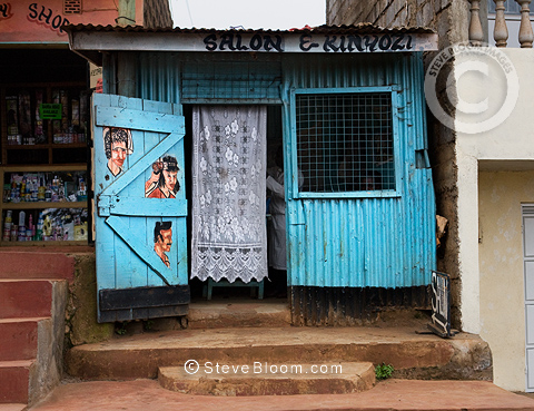 Hair salon and barber (kinyozi), Nairobi, Kenya.