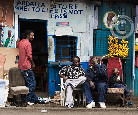 Abdalla Store with slogan 'ghetto life is not easy', Nairobi, Kenya.