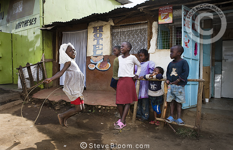 Children playing in the street, Nairobi, Kenya.