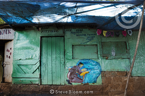 Exterior of furniture repair shop, Nairobi, Kenya.