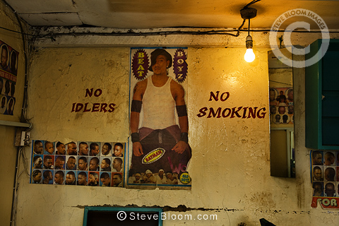 Interior of barber shop, Nairobi, Kenya.
