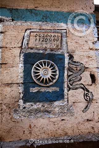 Detail on wall of shop selling diesel, Nairobi, Kenya.