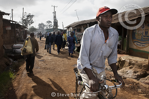Street scene with bicycle, Nairobi, Kenya.