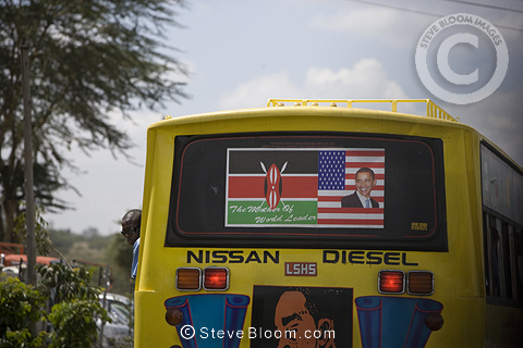 Back of a bus with picture of Barak Obama, Nairobi, Kenya.