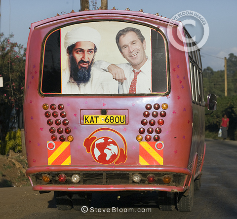Matatu (taxi) with picture of Osama Bin Ladin and George Bush, Nairobi, Kenya.