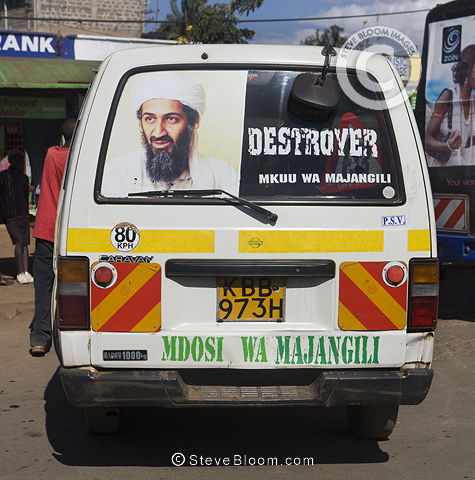 'Destroyer' matatu (taxi) with picture of Osama Bin Ladin, Nairobi, Kenya.