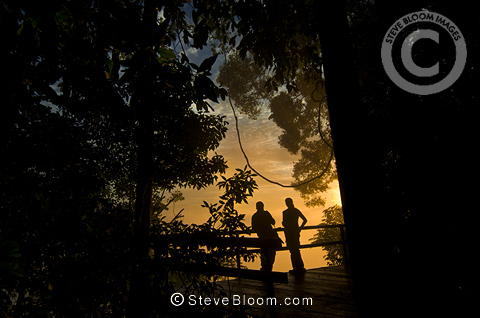 Tourists at sunrise from the forest viewpoint, Danum Valley, Sabah, Borneo.
