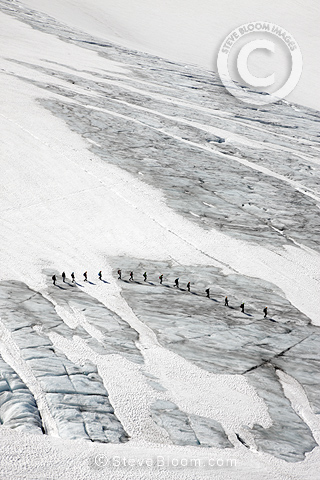 Hikers on Juklavassbreen, Folgefonna glacier, Western Norway