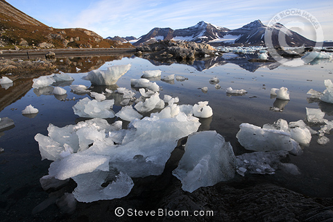 Glacial ice at shore, Hornsund, southern Svalbard, Norway