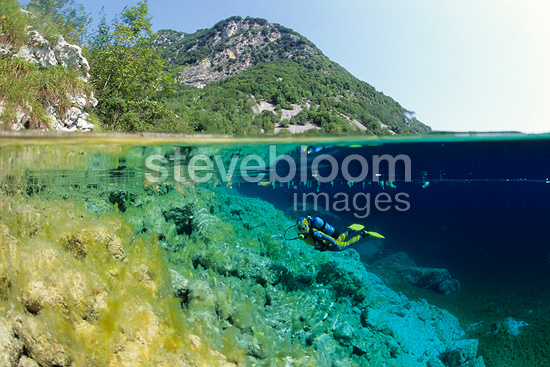 Split image of scuba diver, nature reserve, Cornino Lake, Friuli, Italy