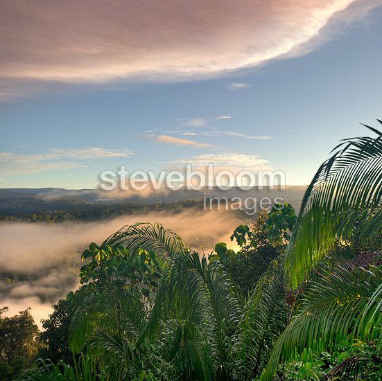 A dawn/sunrise view into the heart of Maliau Basin, taken from the edge of the southern plateau, near Lobah Camp, Borneo