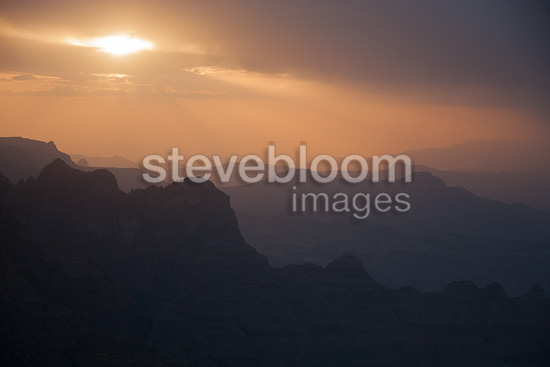 Sun, clouds and fog over Simien Mountains, Ethiopia, Africa