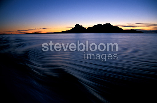 Landegode island and Vestfjord at dusk, Norway