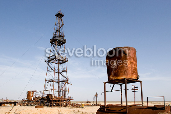 Abandoned derricks in the steppes of Western Kazakhstan