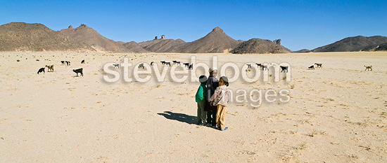 Tuareg children keeping a watch on goats Sahara Algeria