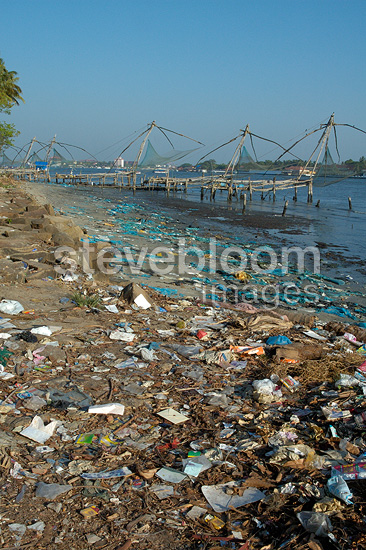Vypin Island beach polluted by plastic India