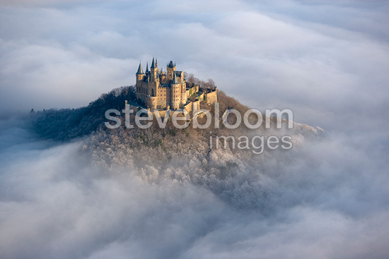 The Hohenzollern Castle above a clouds sea