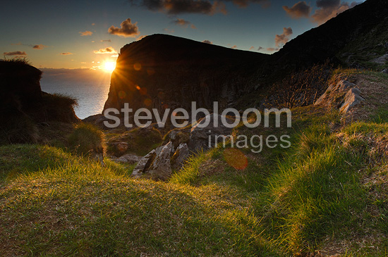 Coast of Runde Island at sunset Norway