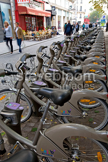Vélibs Bikes rental in the streets of Paris France