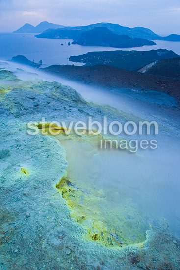 Magmatic activity in a volcanic crater Island Lipari