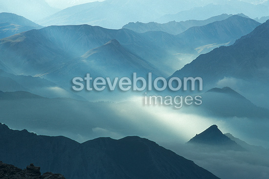 Mist on the mountains of Piedmont Italy