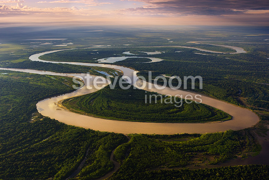 View of Mamore River winding through Amazonian rain forest