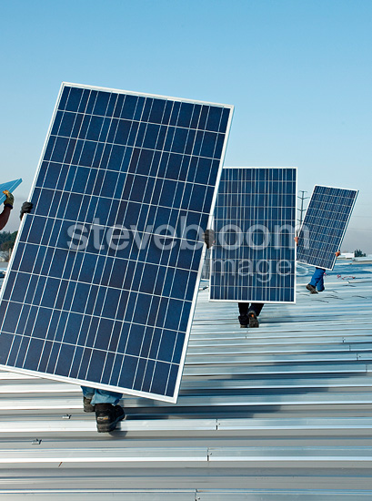 Installing solar panels on a roof France
