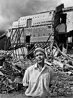 Man watching the demolition of his regular cinema, District Six, Cape Town, 1970s, South Africa