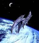 Dolphins leaping from a hurricane on earth. Conceptual composite image.