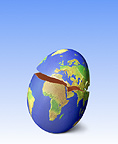 Map of earth on cracked egg