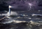 Lighthouse in stormy sea