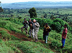 Steve Bloom setting off in search of mountain gorillas, Democratic Republic of Congo