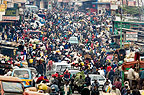 Crowded street market in the Majengo district of Nairobi, Kenya, Africa.